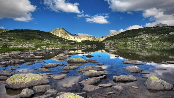 glacial lake zabecko with hvoinat peak at national park pirin image shot 2007 exact date unknown